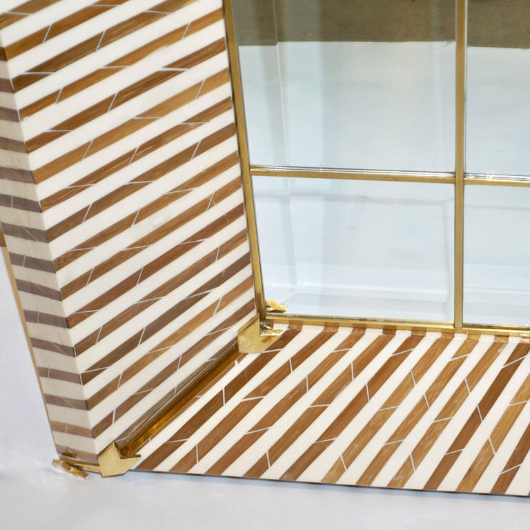 1990 Italian Geometric White And Brown Bamboo Wood Floor