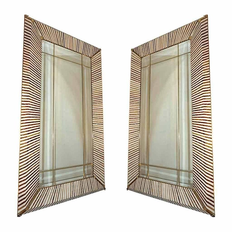 1990 Italian Geometric White & Brown Bamboo Wood Floor Mirror with Brass Accents For Sale 5
