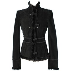 1990 Jacket in suede and black fur by Yves Saint Laurent