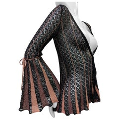 1990 Missoni Fine Black Knit Cardigan W/ Lurex Godet Detailed Sleeves
