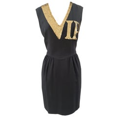 1990 Moschino Gold sequins VIP black Dress
