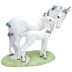 "1990 Princeton Gallery Fine Porcelain Unicorns ""Love's Devotion"""