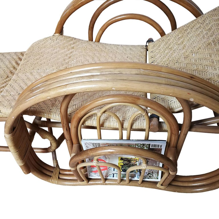 1990´s Pair of Convertible Armchairs in Rattan 'Malacca Cane' For Sale 4