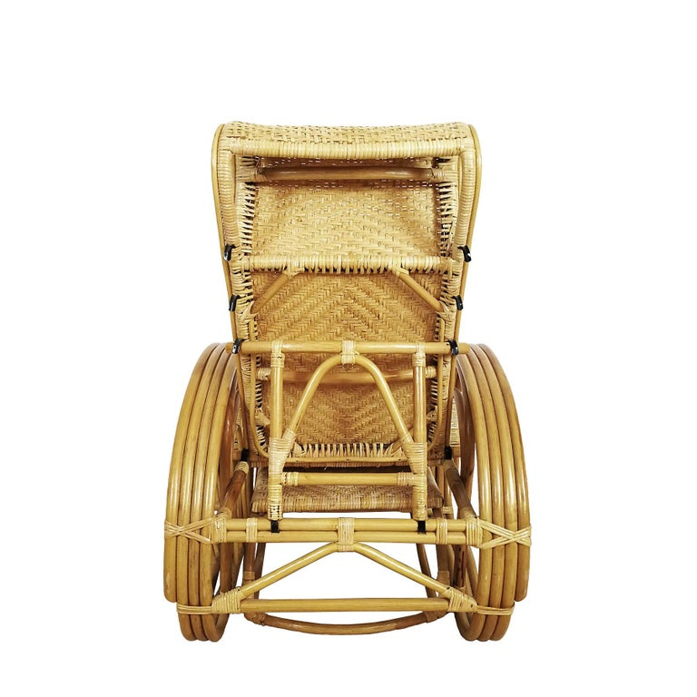 1990´s Pair of Convertible Armchairs in Rattan 'Malacca Cane' For Sale 1