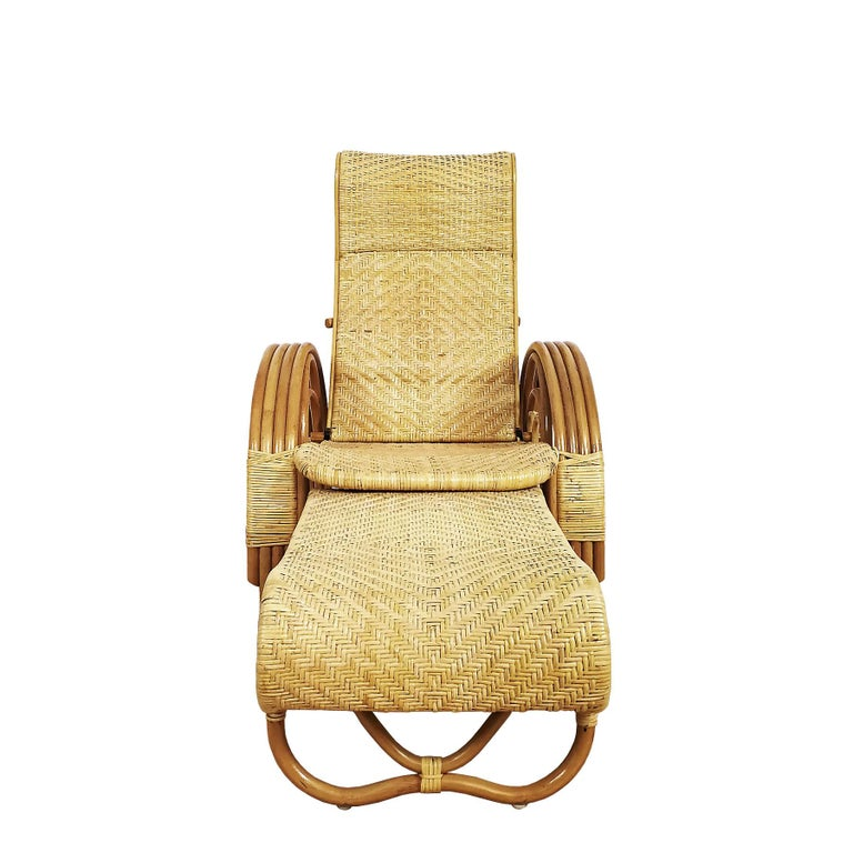 1990´s Pair of Convertible Armchairs in Rattan 'Malacca Cane' For Sale 2
