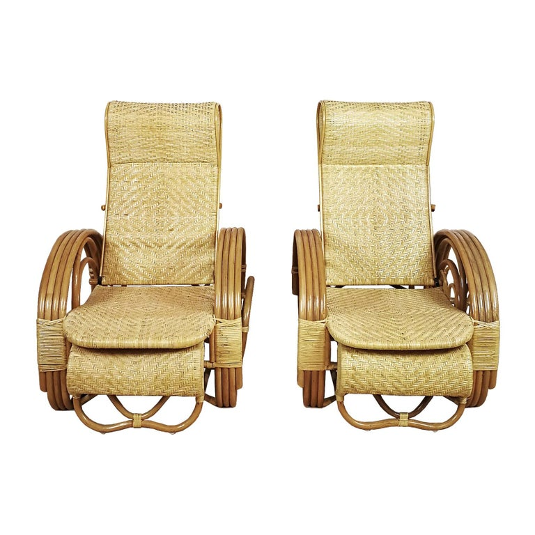 1990´s Pair of Convertible Armchairs in Rattan 'Malacca Cane' For Sale
