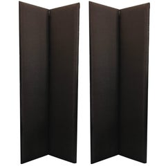 1990 Set of Two Black and Brown Rafia Fabric Upholstered Modern Style Screens