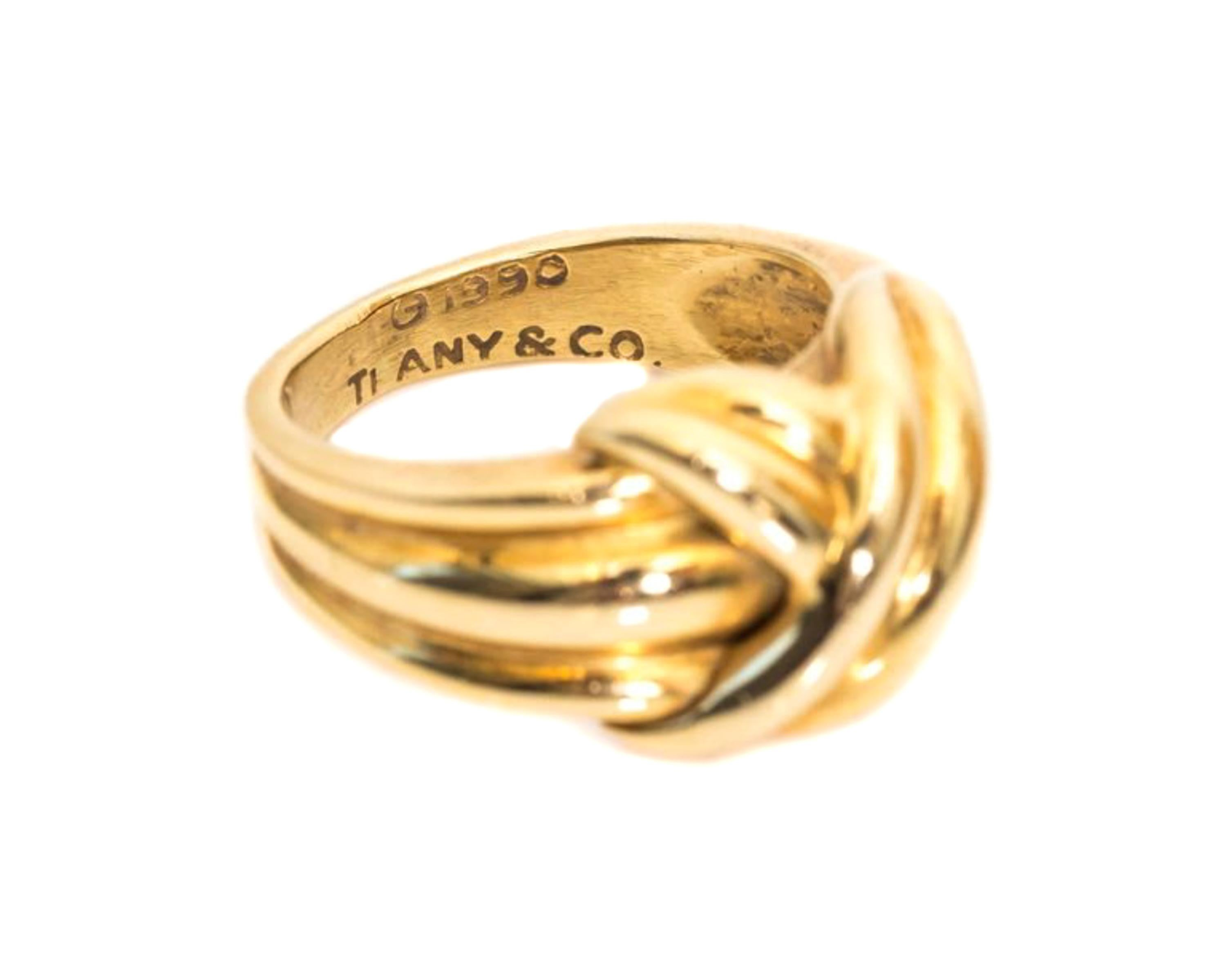 1990 Tiffany And Co 18 Karat Yellow Gold Knot Ring For Sale At 1stdibs