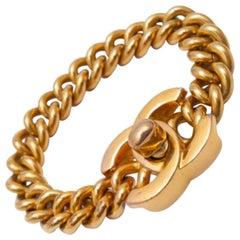 1990 Vintage Chanel CC Turnlock Chain Bracelet