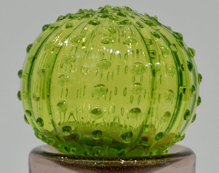 Organic Modern 1990 Vintage Italian Emerald Green Murano Glass Small Cactus Plant in Purple Pot For Sale