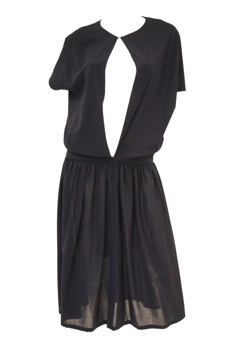 Black 1990 Yohji Yamamoto Avant Garde Open Back Wool Dress  For Sale