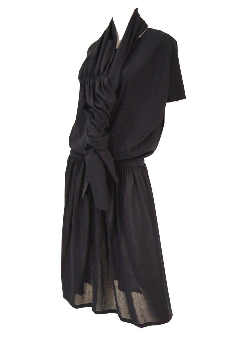 1990 Yohji Yamamoto Avant Garde Open Back Wool Dress  In Excellent Condition For Sale In Houston, TX