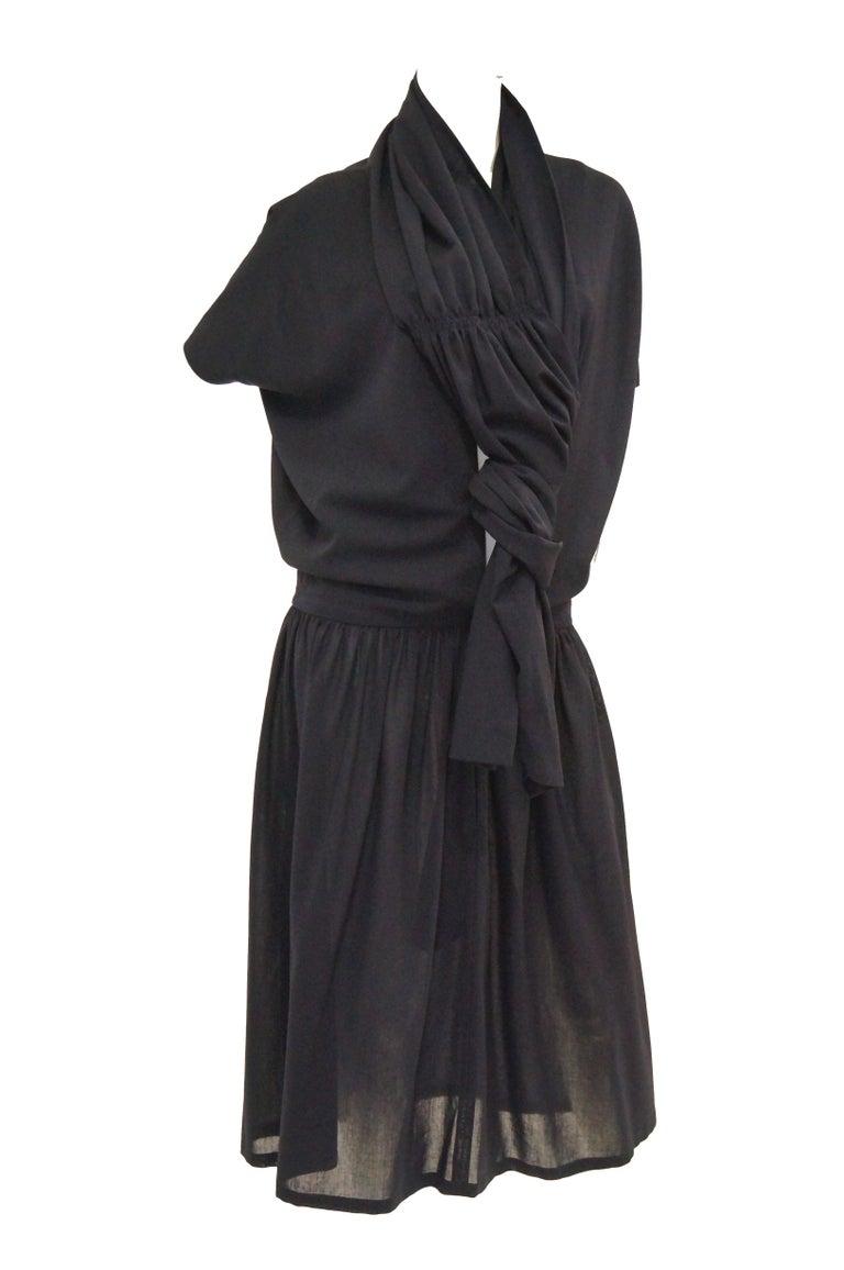 Women's 1990 Yohji Yamamoto Avant Garde Open Back Wool Dress  For Sale