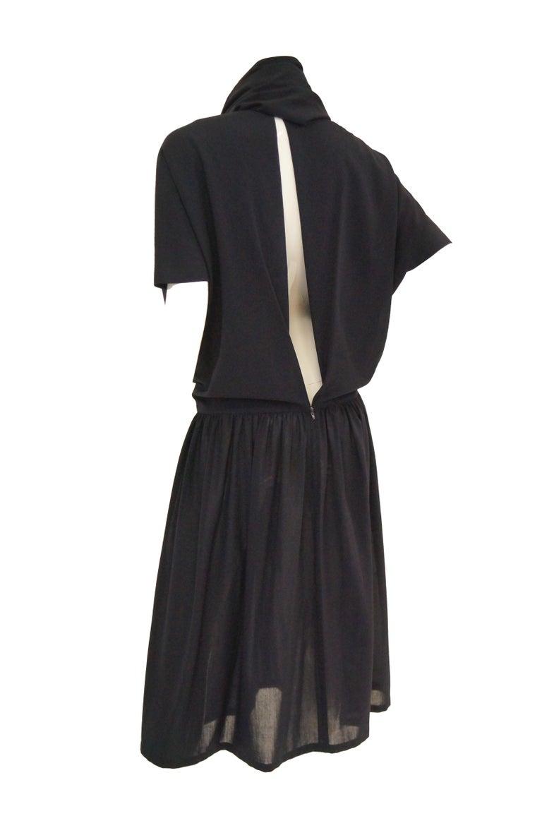 1990 Yohji Yamamoto Avant Garde Open Back Wool Dress  For Sale 2