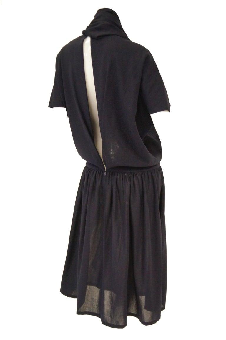 1990 Yohji Yamamoto Avant Garde Open Back Wool Dress  For Sale 3
