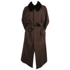 1990 Yohji Yamamoto pour homme wool trench coat with removable mink collar
