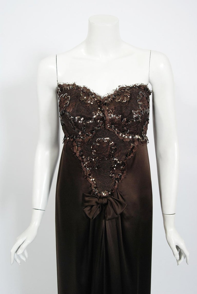 1990 Yves Saint Laurent Haute Couture Chocolate-Brown Silk & Lace Strapless Gown In Good Condition For Sale In Beverly Hills, CA