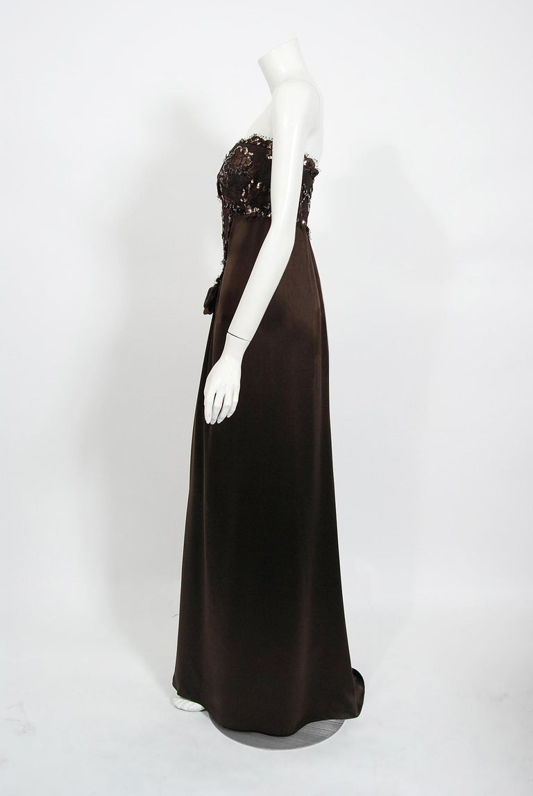 1990 Yves Saint Laurent Haute Couture Chocolate-Brown Silk & Lace Strapless Gown For Sale 2