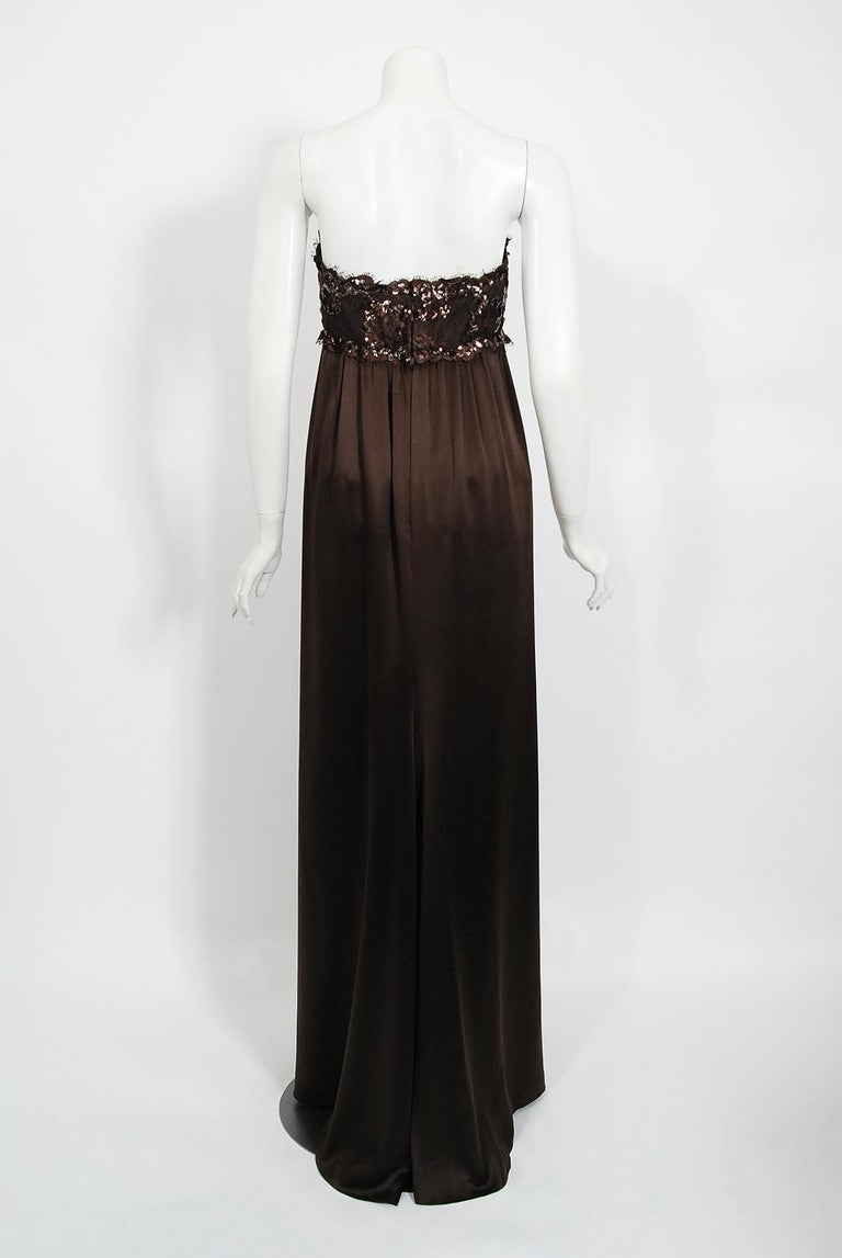 1990 Yves Saint Laurent Haute Couture Chocolate-Brown Silk & Lace Strapless Gown For Sale 3