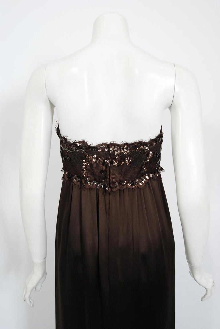 1990 Yves Saint Laurent Haute Couture Chocolate-Brown Silk & Lace Strapless Gown For Sale 4