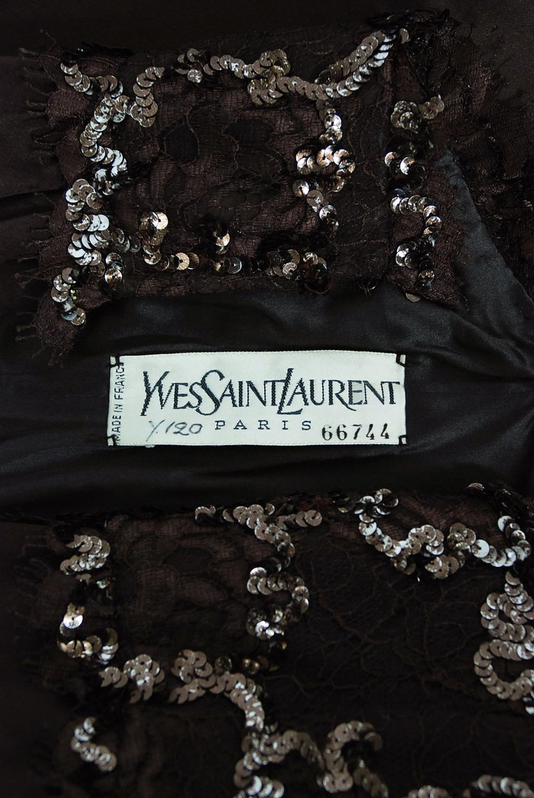 1990 Yves Saint Laurent Haute Couture Chocolate-Brown Silk & Lace Strapless Gown For Sale 5
