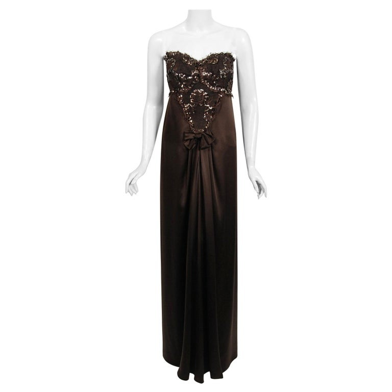 1990 Yves Saint Laurent Haute Couture Chocolate-Brown Silk & Lace Strapless Gown For Sale