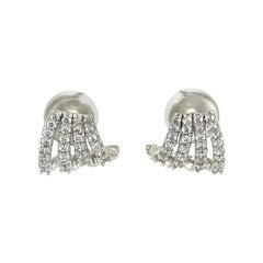 1990s 0.60 Carat Diamond Fan Earrings, 18 Karat White Gold