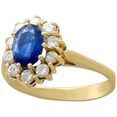 1990s 1.05 Carat Sapphire Diamond Gold Cocktail Ring