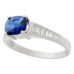 1990s 1.20 Carat Sapphire Diamond White Gold Cocktail Ring