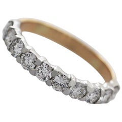 1990s 1.24 Carat Diamond Yellow Gold Half Eternity Ring