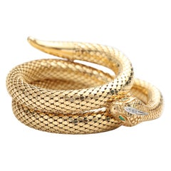 1990s 18 Karat Yellow Gold Serpent Bangle Bracelet