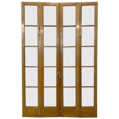 1990s 20 Lite Bi-Fold French Double Doors Medium Tone Stain