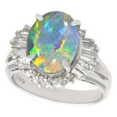 2.09 Carat Opal and Diamond Platinum Cocktail Ring