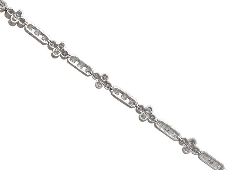 1990s 3.30 Carat Diamond and White Gold Bracelet For Sale 2