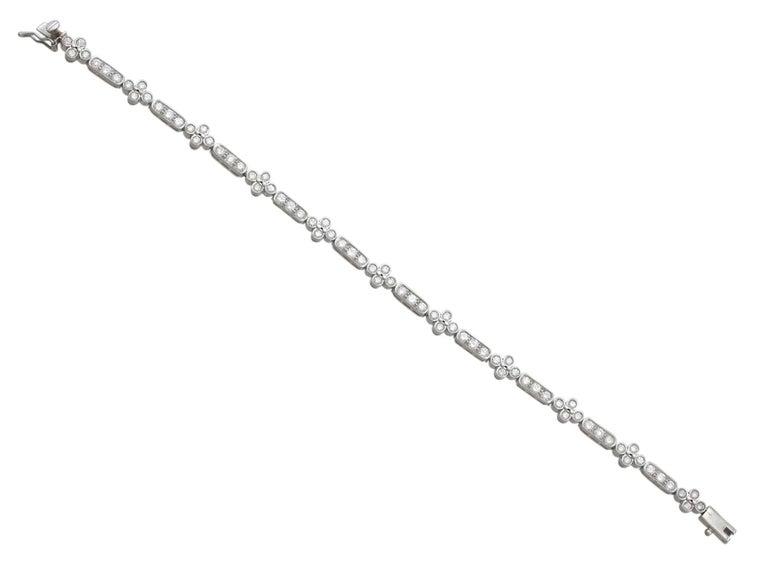 1990s 3.30 Carat Diamond and White Gold Bracelet For Sale 3