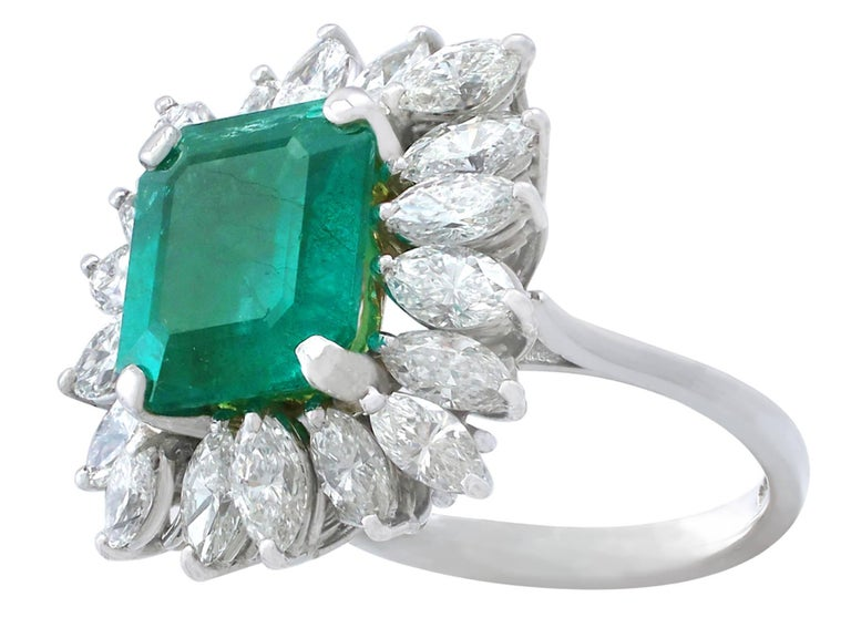 Women's 1990s 4.30 Carat Emerald Diamonds Gold Cluster Ring For Sale