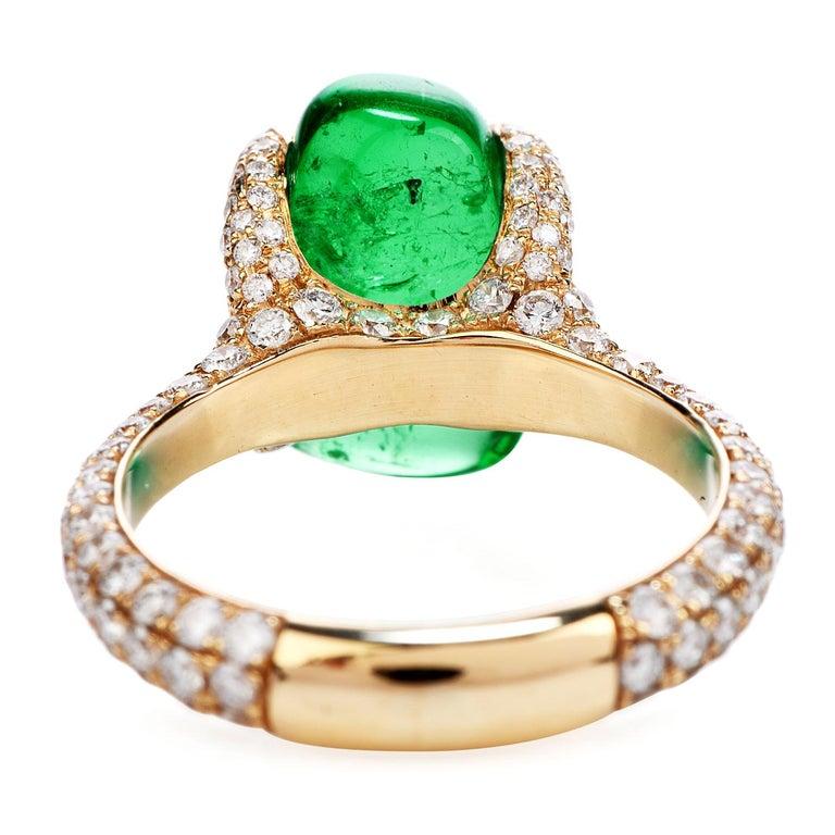 Cabochon 1990s 6.92 Carat Colombian Emerald Diamond 18 Karat Gold Cocktail Ring