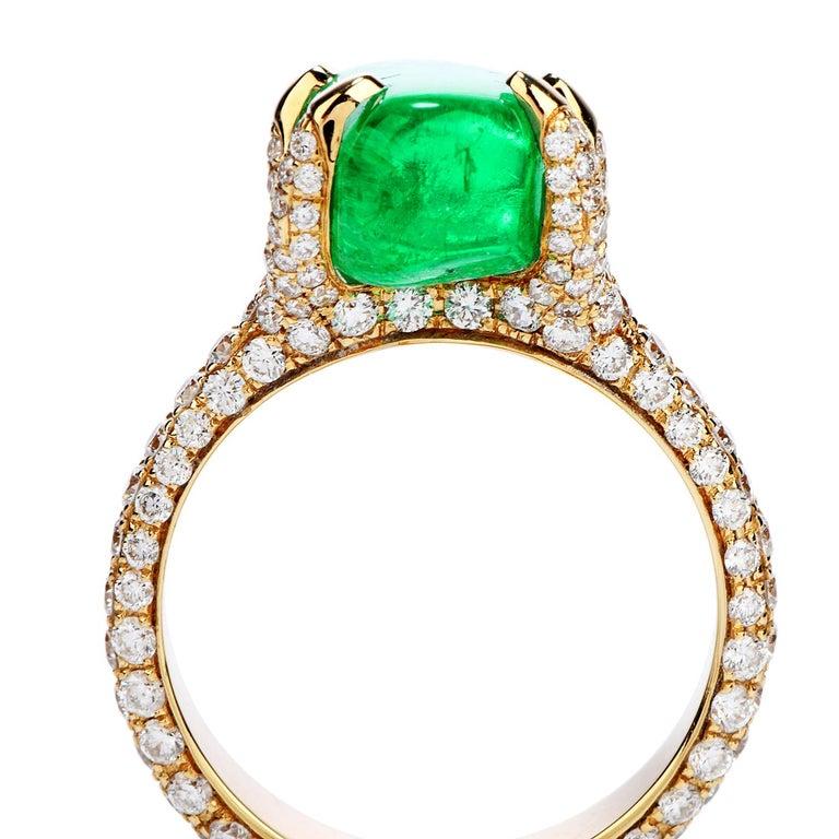 Women's or Men's 1990s 6.92 Carat Colombian Emerald Diamond 18 Karat Gold Cocktail Ring