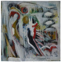 1990s Abstract Painting of Bird of Prey on Canvas Signed: DK