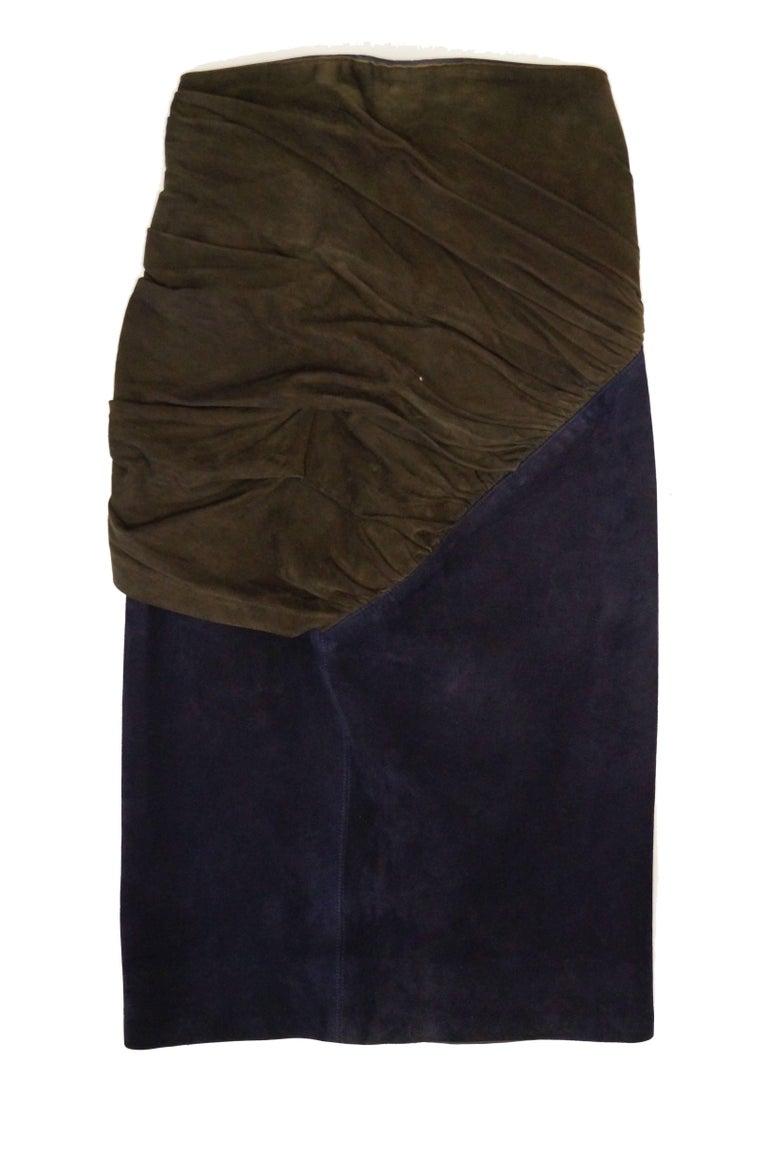 Blue 1990s Alaia Indigo and Brown Suede Sarong Wrap Skirt For Sale