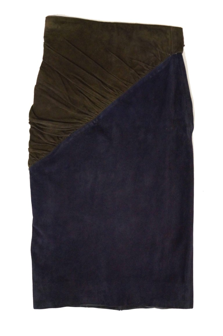 1990s Alaia Indigo and Brown Suede Sarong Wrap Skirt In Excellent Condition For Sale In Houston, TX