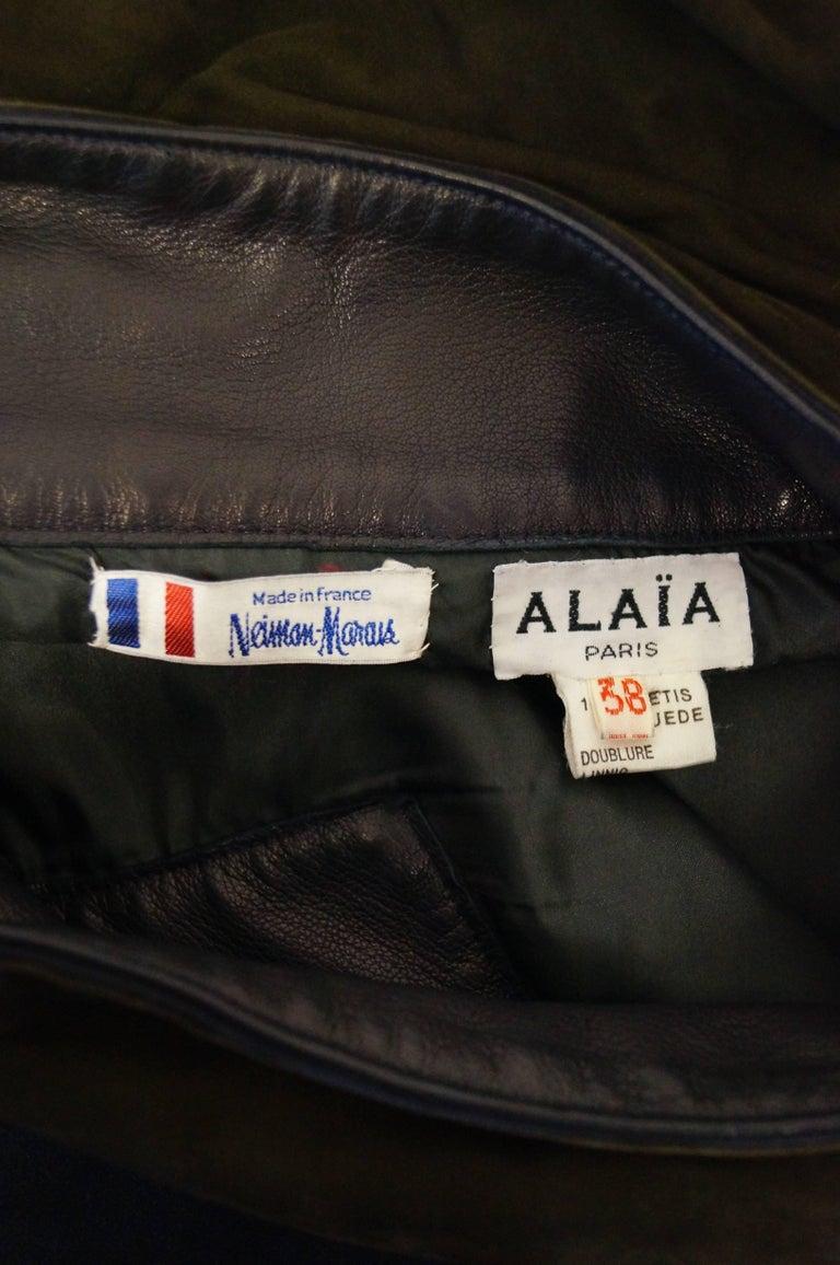 Women's 1990s Alaia Indigo and Brown Suede Sarong Wrap Skirt For Sale