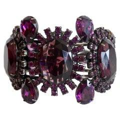 1990s Alan Anderson Purple Rhinestone Art Deco Cuff