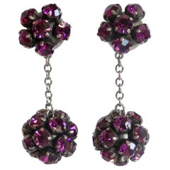Alan Anderson 1990s Purple Rhinestone Ball Drop Earrings