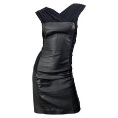 1990s Alberta Ferretti Leather Size 8 Black Vintage 90s Sheath Dress LBD