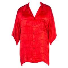 1990S ALDEN RIDGE Red Acetate Satin Short Sleeve Rat Pack Shirt NWT