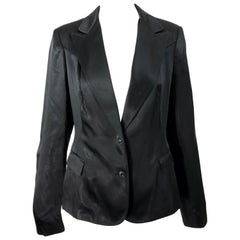 1990s Alessandro Dell'Acqua Size 46 / US 10 Black Silk Satin Look Vintage Blazer