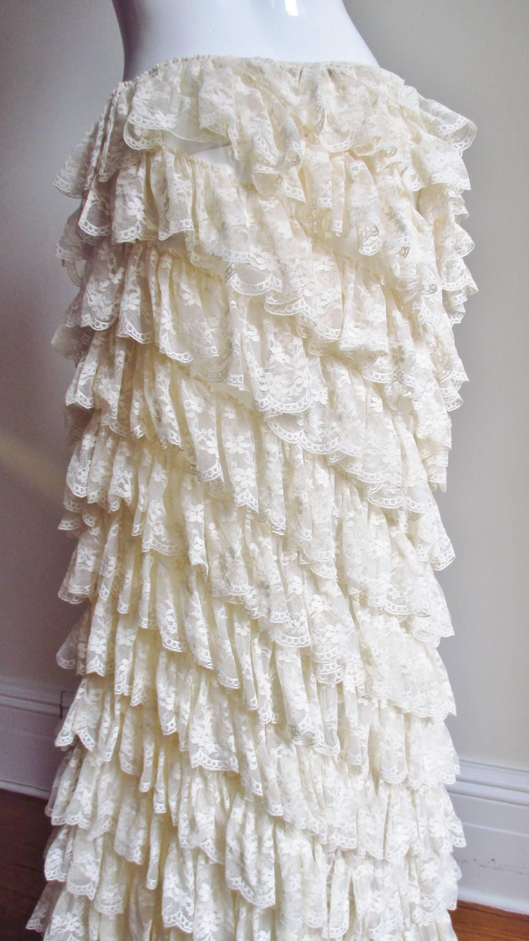 Alexander McQueen Lace Ruffle Maxi Skirt For Sale 5