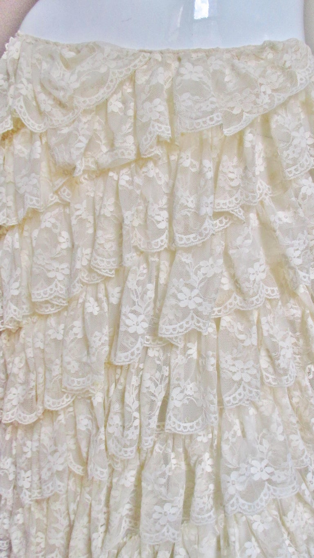 Women's 1990s Alexander McQueen Lace Ruffle Maxi Skirt For Sale