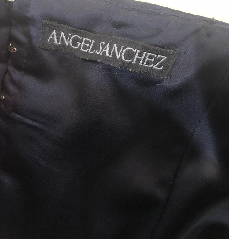 1990s Angel Sanchez Navy Blue Silk Vintage 90s Strapless Evening Gown Dress In Excellent Condition For Sale In Chicago, IL